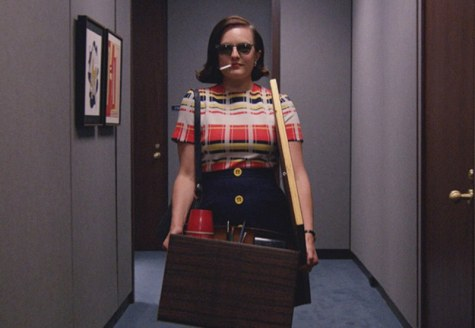 "Peggy Olson arrives at the McCann offices in ""Lost Horizon"" (Mad Men season 7 episode 12)"