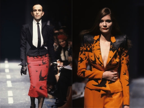 Mr Pearl and Plum Sykes in two swallow print looks, Alexander McQueen Spring/Summer 1995 (The Birds)