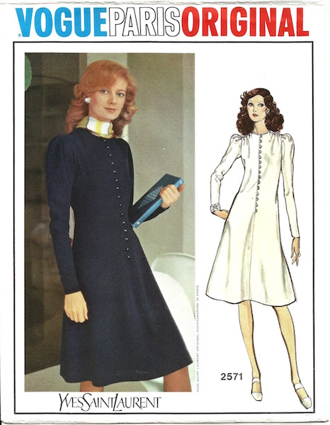 1970s Yves Saint Laurent dress pattern - Vogue 2571