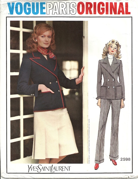 1970s Yves Saint Laurent three-piece suit pattern - Vogue 2598