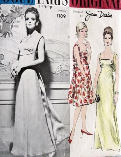 1960s Dessès evening gown pattern- Vogue 1189