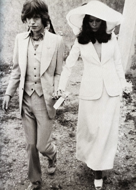 Mick Jagger with Bianca Jagger in Yves Saint Laurent couture, May 1971