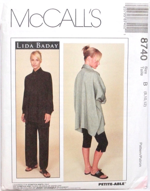 1990s Lida Baday pattern shirt, pants, and leggings pattern - McCall's 8740