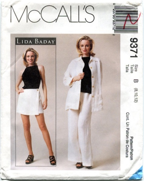 1990s Lida Baday top, skort, jacket, and pants pattern - McCalls 9371