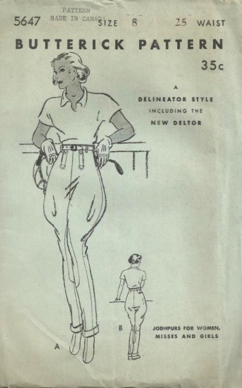 1930s jodhpurs sewing pattern - Butterick 5647