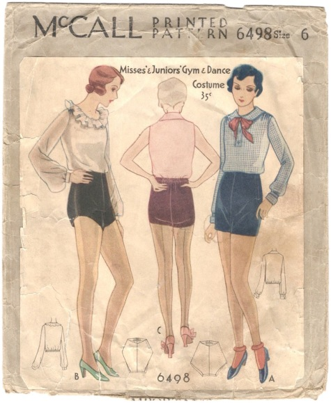 1930s gym and dance outfit (blouse and tap shorts) - McCall 6498