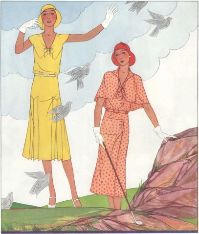 Ben Hur Baz ladies' golf illustration in McCall's magazine, spring 1930