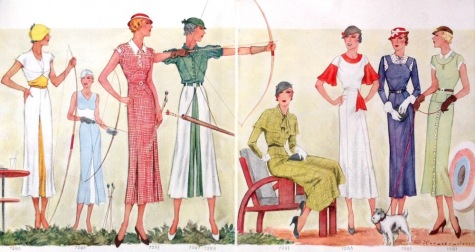 Jean des Vignes archery illustration in a 1930s McCall's magazine