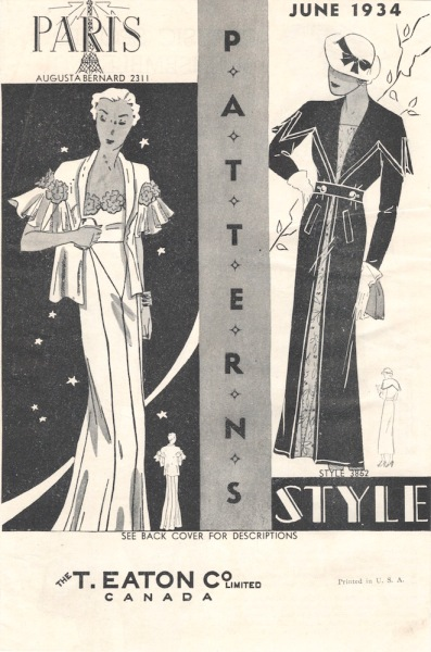 An Augustabernard design on the cover of a Paris and Style Patterns booklet, June 1934, from the T. Easton Co. Ltd, Canada