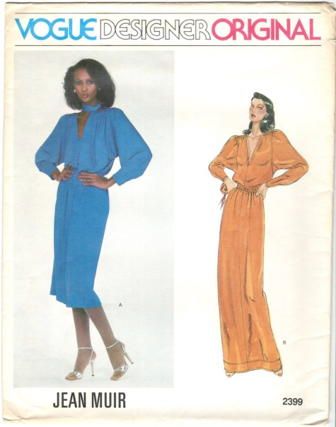 Iman wears a blue Jean Muir dress pattern - Vogue 2399, circa 1980