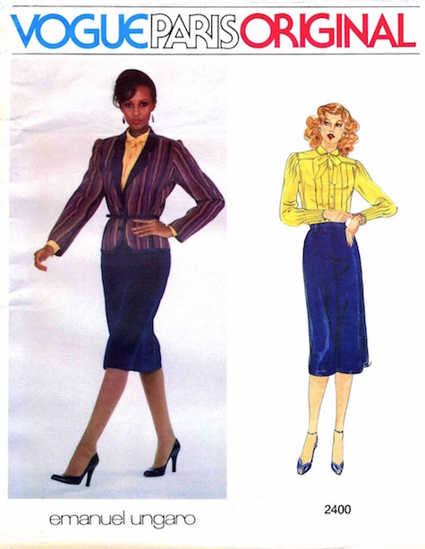 Iman on the cover of a 1980s Emanuel Ungaro suit pattern - Vogue 2400