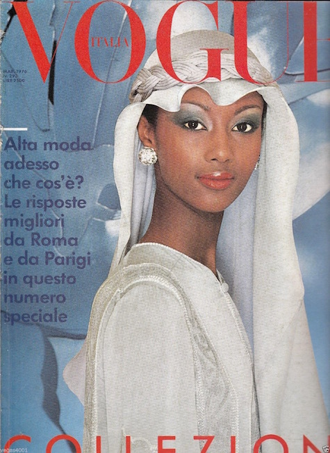 Iman photographed by Norman Parkinson for the cover of Vogue Italia, March 1976