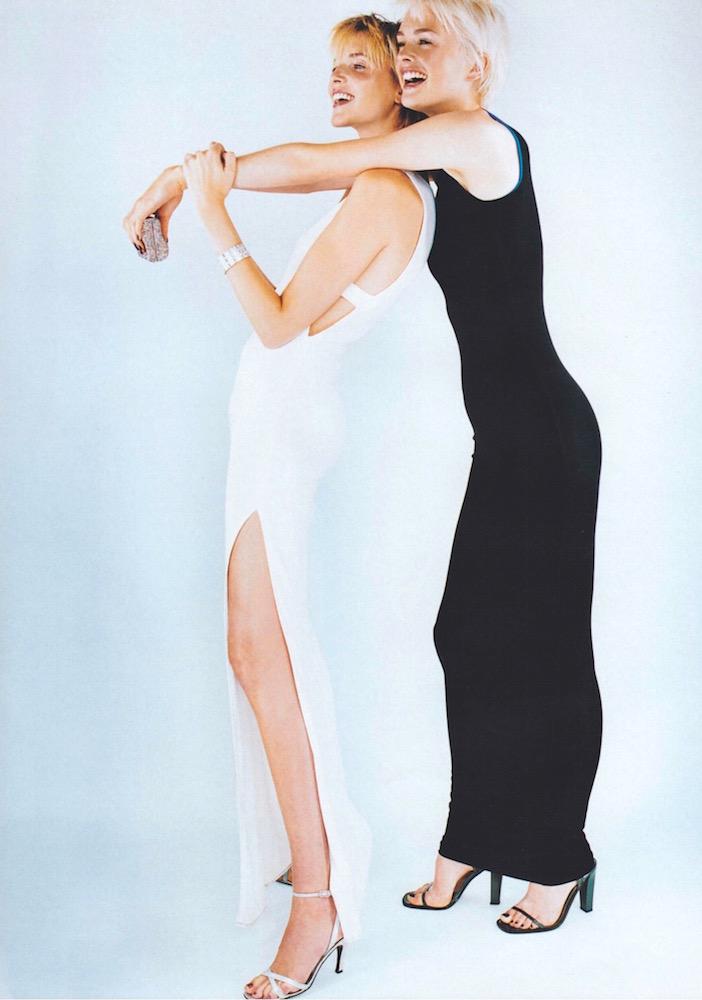 VogueNov1996_V9469 Cuff: Janis Savitt for M+J Savitt. Sandals: Stuart Weitzman and Calvin Klein.