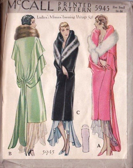 Late 1920s evening wrap pattern - McCall 5945