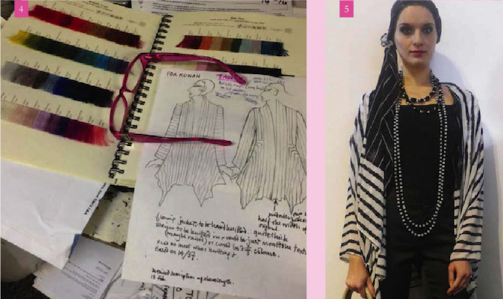Zandra Rhodes sketch with yarn charts and sample garment - Rowan 58 (Winter 2015)