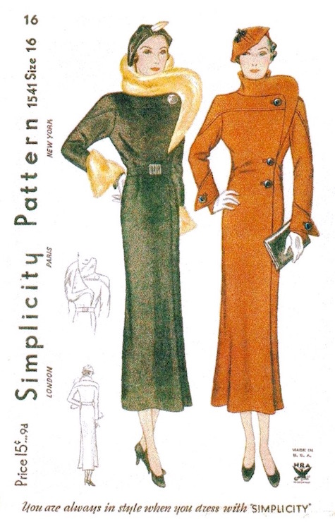 1930s fur-trimmed coat pattern - Simplicity 1541