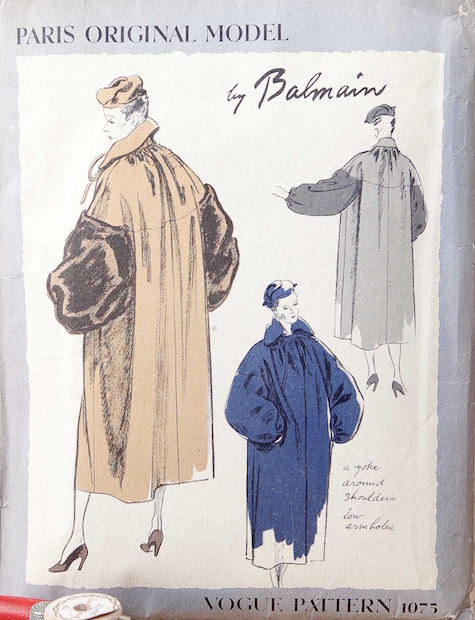 1940s Balmain coat pattern - Vogue 1075