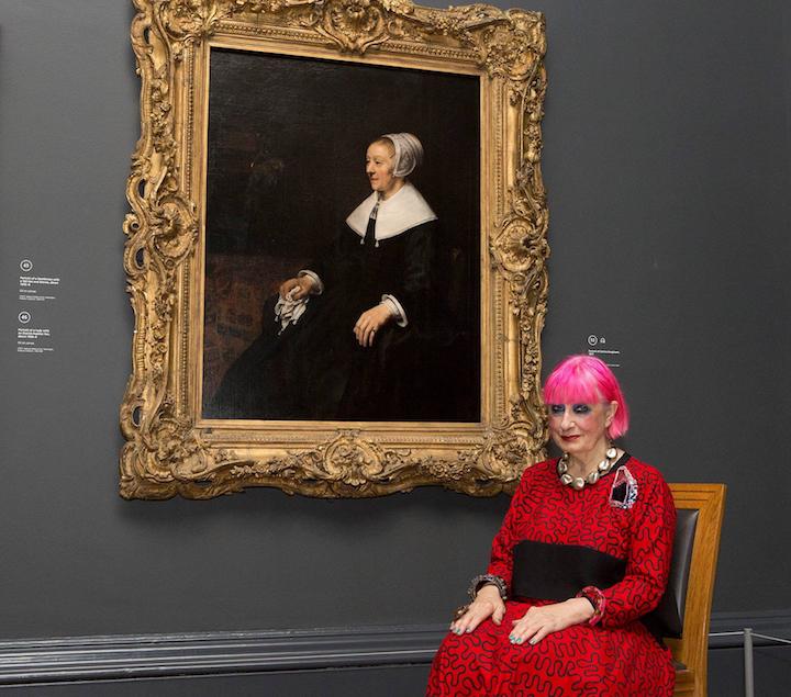 Zandra Rhodes and Rembrandt's portrait of Catrina Hooghsaet, 2014