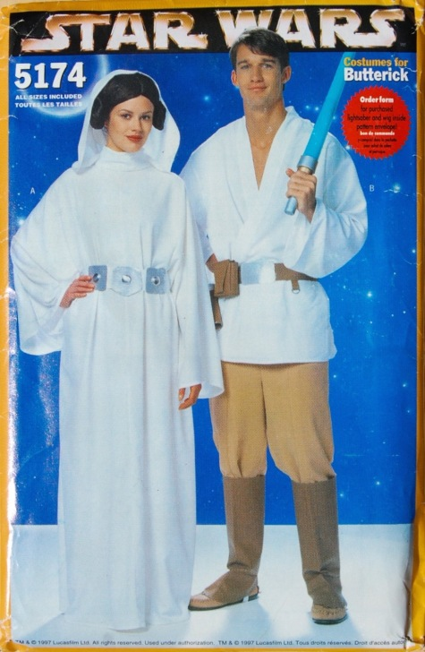 1990s Princess Leia and Luke Skywalker pattern - Butterick 5174