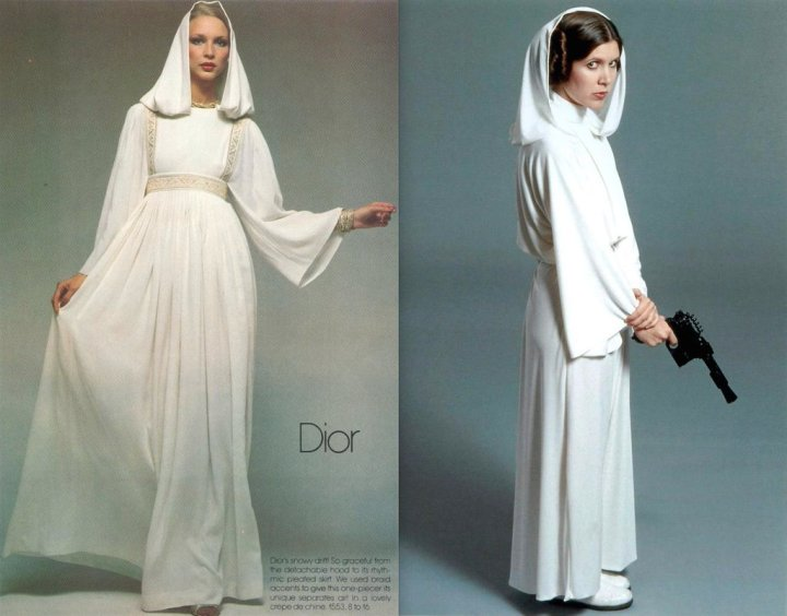 Karen Bjornson in Vogue 1553 by Dior, photographed by Chris von Wangenheim; Carrie Fisher as Princess Leia