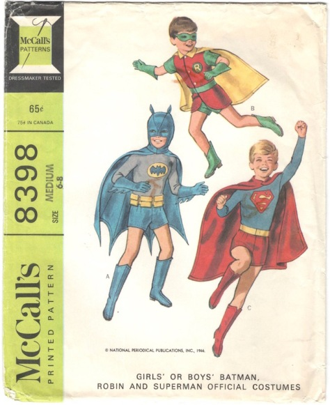 1960s Girls' or Boys' Batman, Robin and Superman official costumes McCall's 8398
