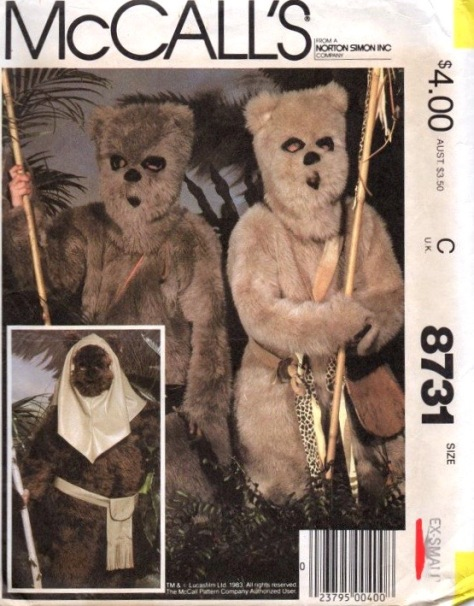 1980s children's Ewok costume pattern - McCalls 8731