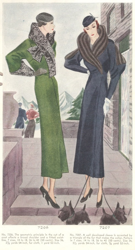 McCall 7206, 7207 Spring 1933 coats