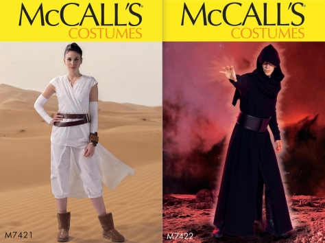 McCall's The Force Awakens patterns - M7421 and 7422 (Rey and Kylo Ren)