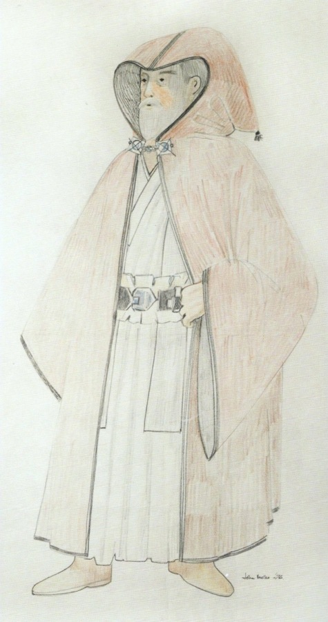 John Mollo's final sketch for the costume of Obi-Wan Kenobi, 1976