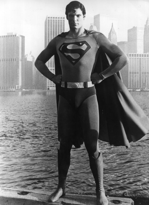 Christopher Reeve as Superman against the New York City skyline, 1978