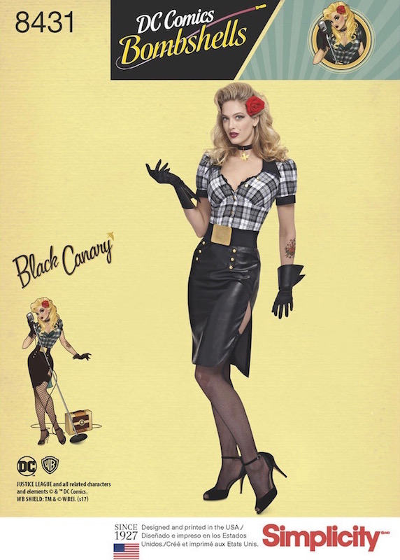 DC Bombshells Black Canary costume pattern Simplicity 8431