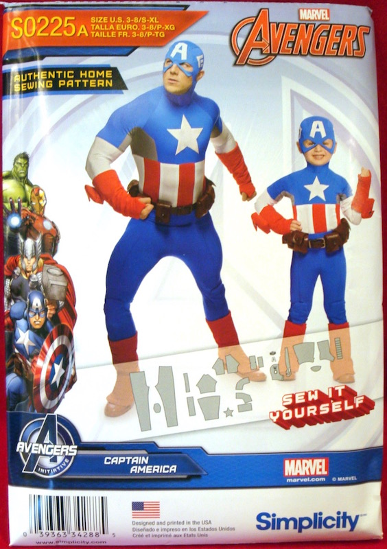 Marvel Avengers Captain America costume pattern - Simplicity 1030/0225