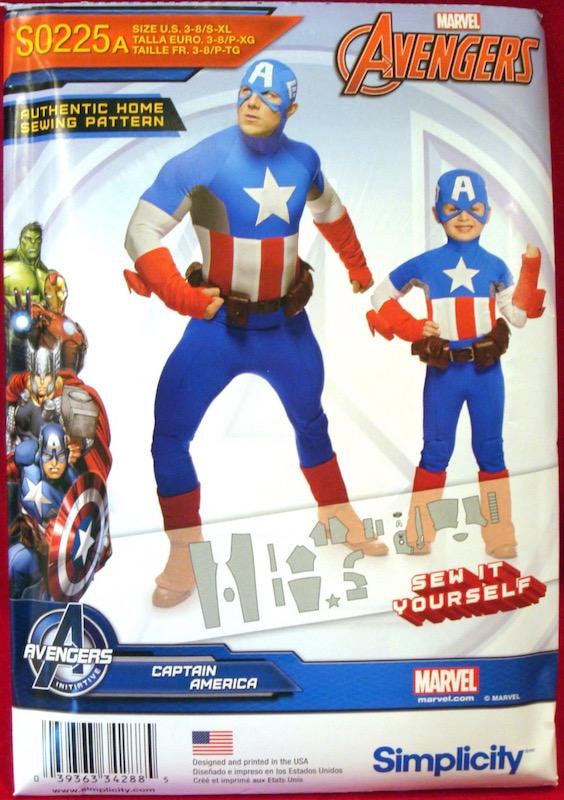 Marvel Avengers Captain America costume pattern - Simplicity 1030/0225