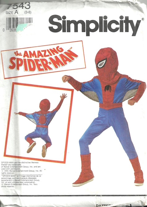 1990s children's Spiderman costume pattern - Simplicity 7543