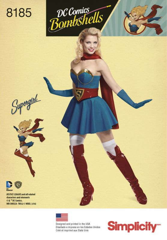 Official DC Comics Bombshells Supergirl pattern - Simplicity 8185