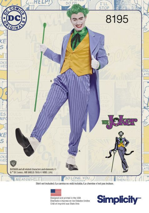 Official DC Comics The Joker costume pattern - Simplicity 8195