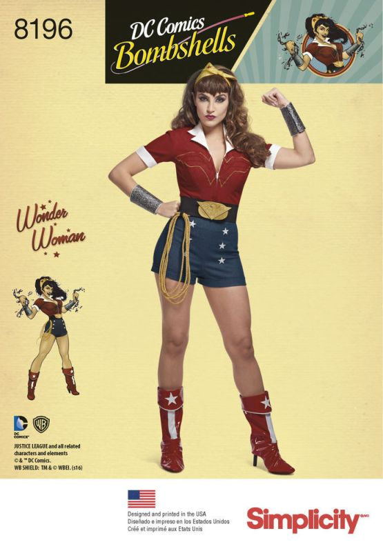 Official DC Comics Bombshells Wonder Woman pattern - Simplicity 8196