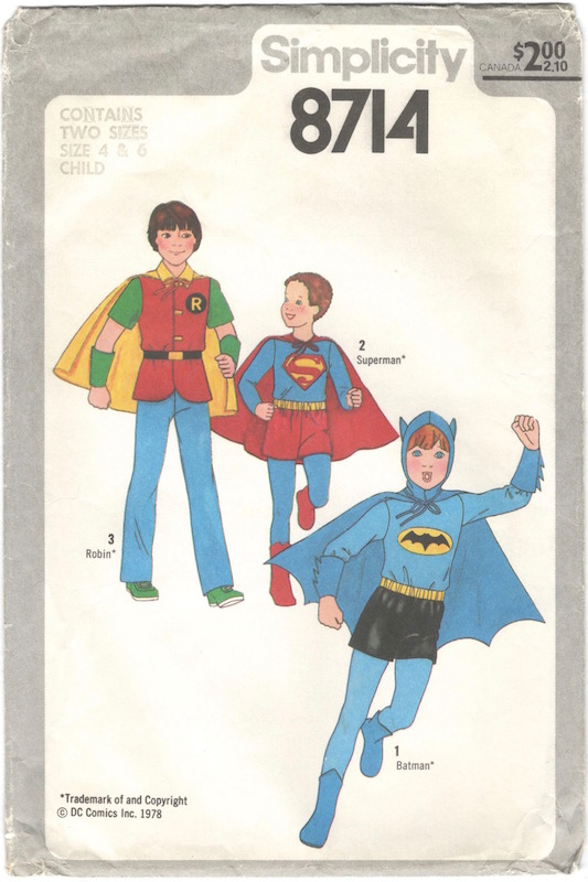 1970s children's Batman, Robin, and Superman costume pattern - Simplicity 8714
