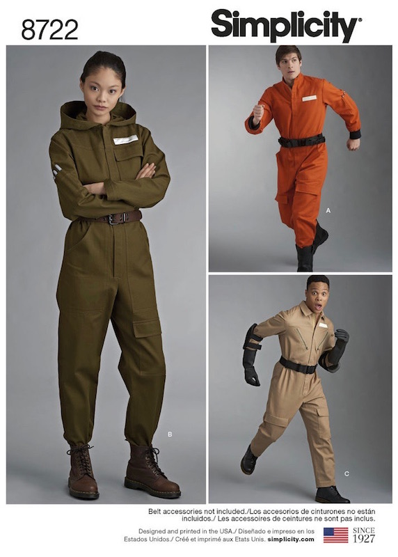 Unisex flight suit costume pattern (Star Wars, Ghostbusters) Simplicity 8722