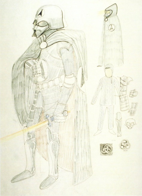 John Mollo's design for the samurai warrior concept of Darth Vader, 1976