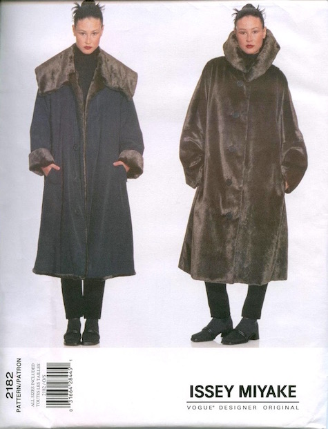 1990s Issey Miyake reversible faux fur coat pattern - Vogue 2182