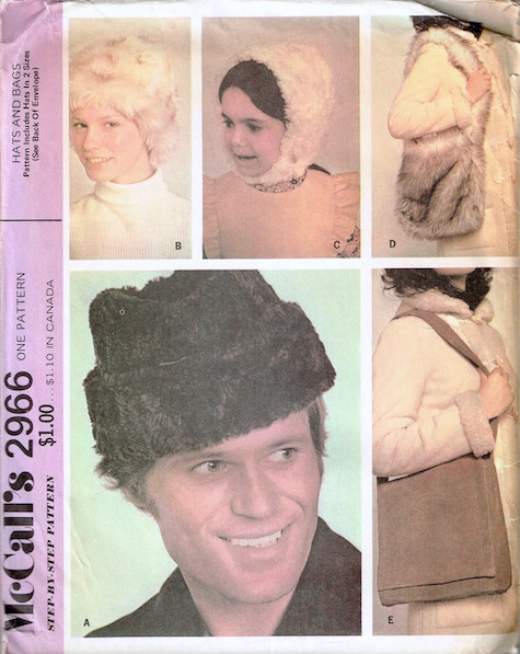 1970s faux fur hat and bag pattern - McCall's 2966