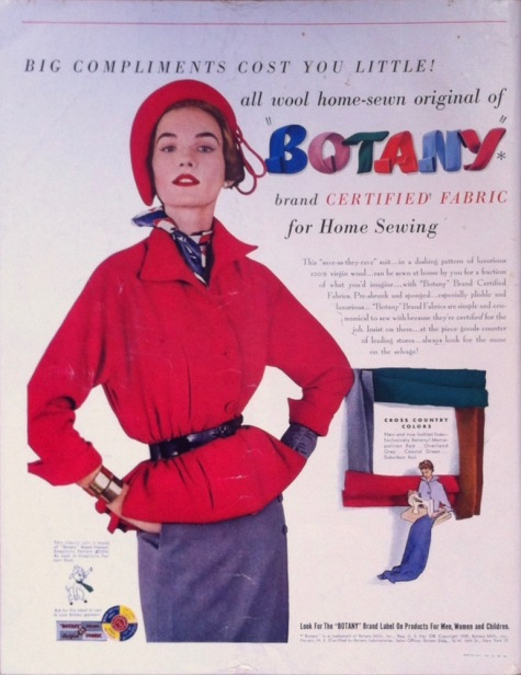 1950s Botany ad featuring Simplicity 3322 and 3310