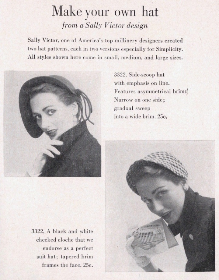 1950s Sally Victor hat pattern Simplicity 3322 in Simplicity Pattern Book