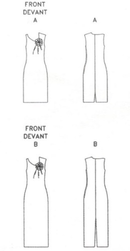 Technical drawing for Vogue 2368 by Guy Laroche