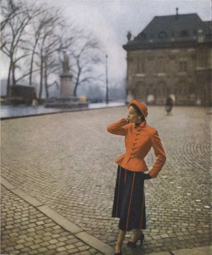 1940s Pierre Balmain suit pattern Vogue 1054 photographed by Clifford Coffin