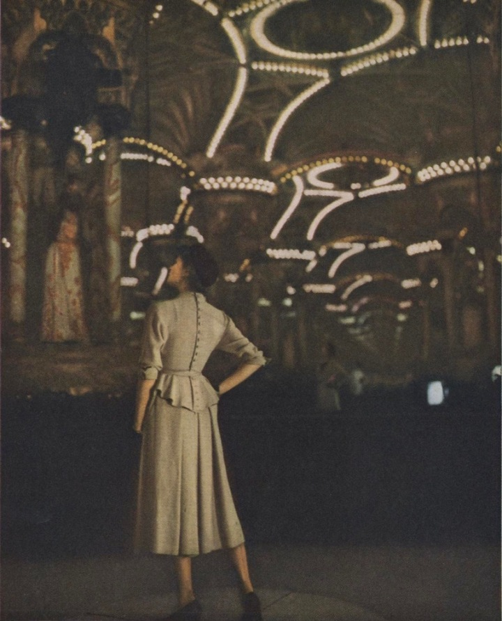 1940s Jacques Heim dress pattern Vogue 1056 photographed in Paris by Clifford Coffin.