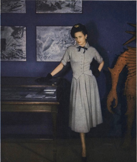 1940s Lanvin dress pattern Vogue 1052 photographed in a Paris museum by Clifford Coffin