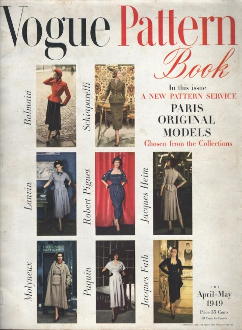 In this issue, a new pattern service: Paris Original Models chosen from the collections - Vogue Pattern Book, April/May 1949