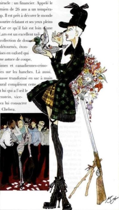 Byron Lars illustrations in LOfficiel, August 1991